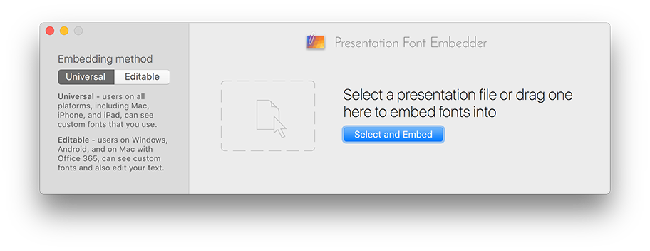 Presentation Font Embedder screenshot