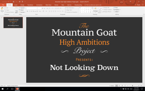 PowerPoint screenshot with embedded custom fonts